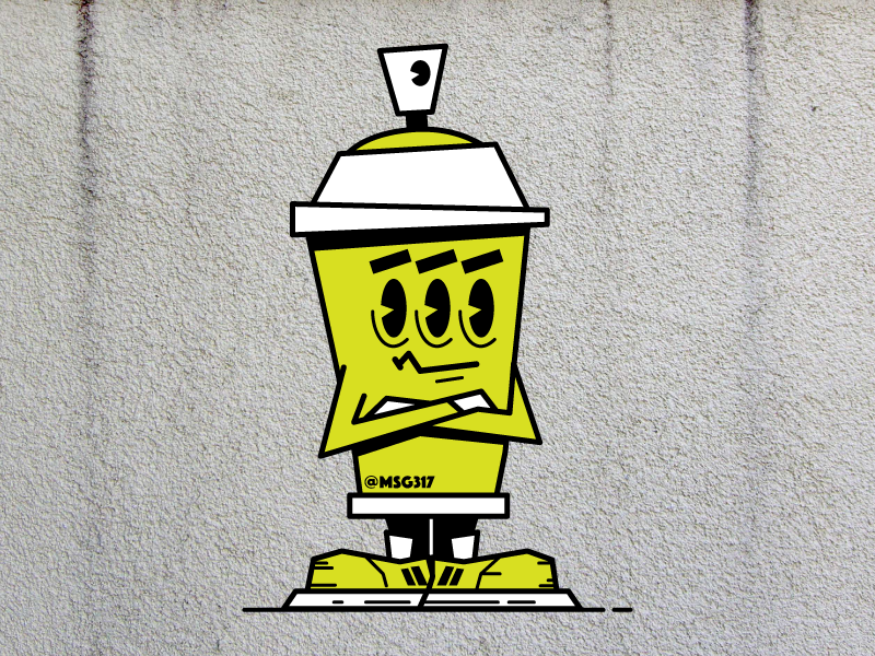 Not Impressed Spray Can vector design character cartoon graffiti aerosol can spray paint