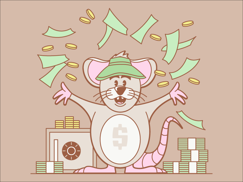 Cash Rules Everything Around Mouse cash hat visor coins dollars safe money character cartoon illustration mouse msg317