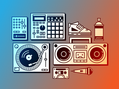 Rap Elements icons music mixer sneaker mic cassette turntable boombox mpc hiphop rap icon