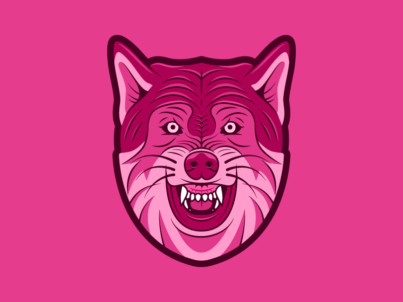 Pinkwolf head mascot pink wolf
