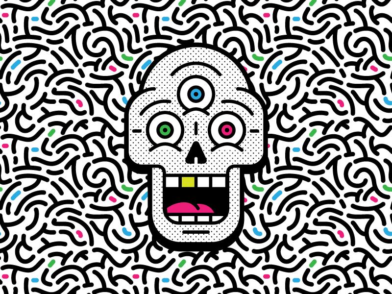 Screaming Skull thirdeye msg317 pattern brains illuminati illustration vector graphic design branding skull