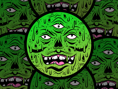 Mutated Face Melter character illustration msg317 green toxic monster coaster design undead dead drips slime mutant coaster