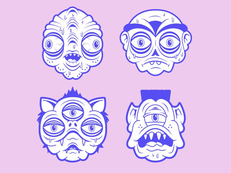 A Few Weirdo Heads :) msg317 portraits illustrator character design characterdesign mutant head vector illustration character weird monster