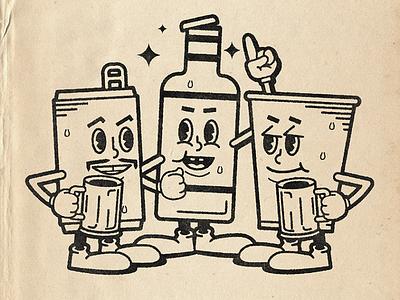Drank Gang msg317 drinks illustration cartoon illustration characters bottle can beer cup cartoon beverages beverage