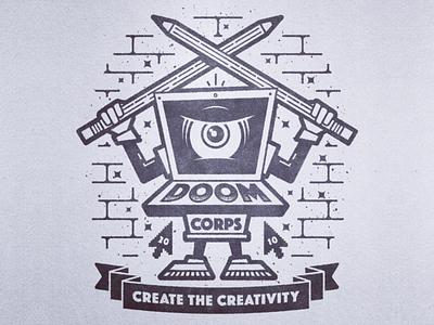 Doom Corps Mascot vintage badge art vector illustration character mascot pencils computer vintage msg317