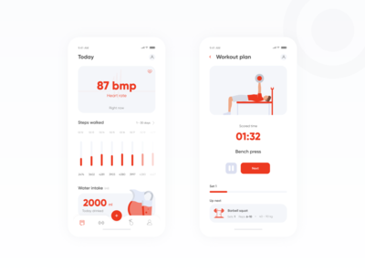 Fit Tracks app figma uiux fitness fit mobile ux ui red app