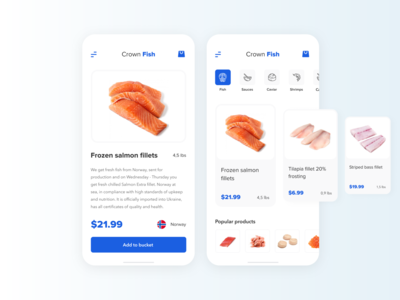 Crown Fish seafood fish blue design mobile ios grocery uiux figma uidesign ux ui app