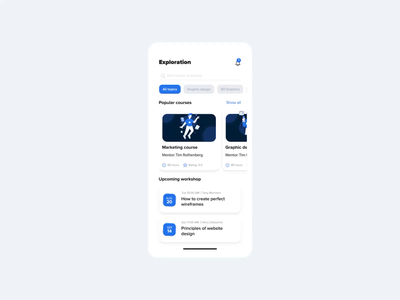 Distance Education aftereffects blue ios mobile uiux app motiondesign figma ux motion graphics animation
