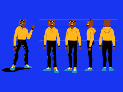 Character design - Gentlemen MV glasses sneakers man cat model sheet illustration flat charater design character 2d