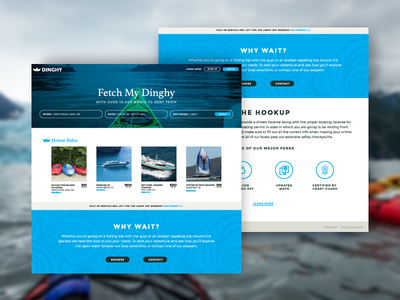Dinghy Website logo one page outdoors boating branding clean flat ui web design