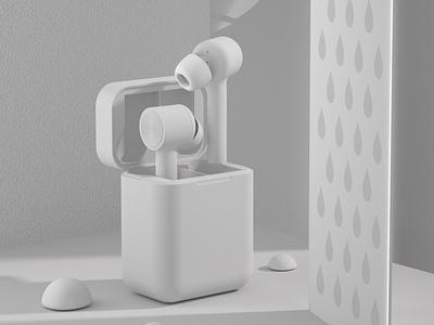耳机白膜 design 品牌 c4d