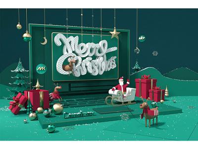 圣诞节 illustration 设计 品牌 c4d