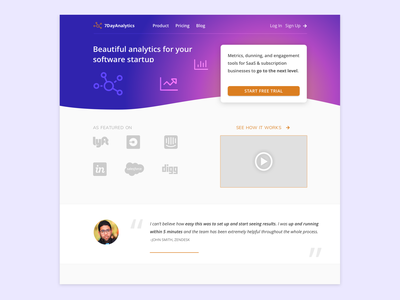 Landing page  - hero panel concept call to action hero landing page