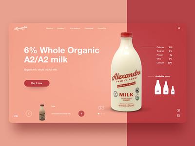 Milk branding design website flat typography web ux ui