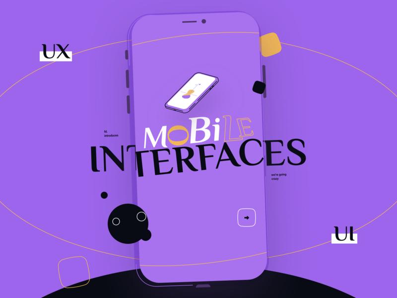 Mobile Interfaces ux ui illustration flat branding web identity typography minimal design