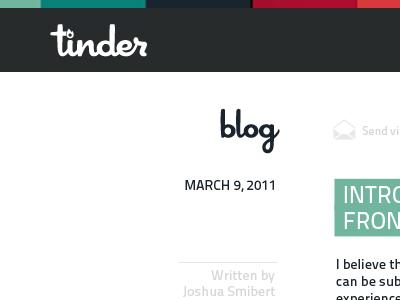 Internal Blog Layout tinder white gray red orange blog