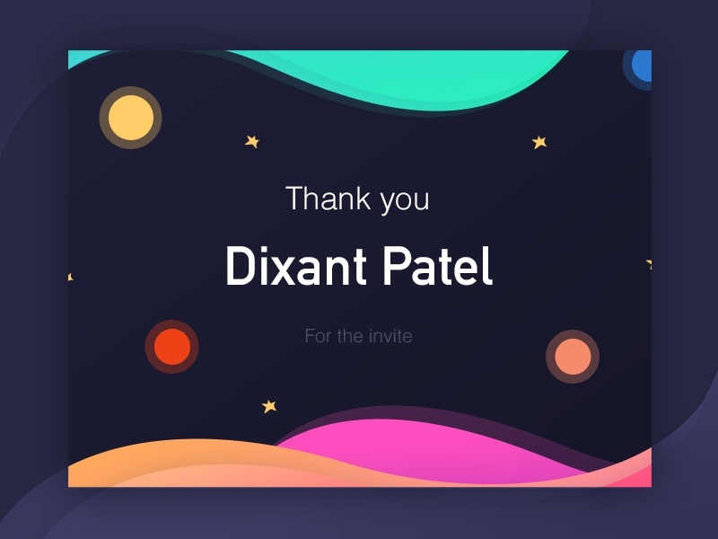 Hello Dribbble! 💌 stars graphic gradients space colors waves first shot debut