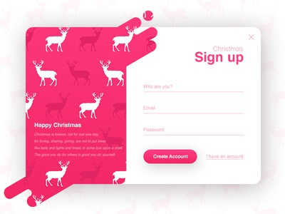 Sign up - Christmas (season series) deer interface form clean christmas popup login register signup ux ui illustration