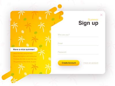 Sign up - Summer (season series) summer liquid palm ux ui signup register popup login interface clean form