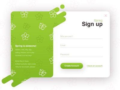 Sign up - Spring (season series) ux ui spring signup register popup login liquid interface form clean