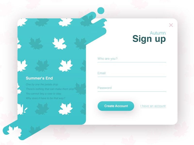 Sign up - Autumn (season series) ux ui autumn signup register popup login liquid interface form clean