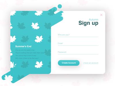 Sign up - Autumn (season series) ux ui autumn signup register popup login liquid interface form clean