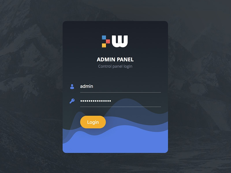 Login Screen for Admin Panel panel dark waves clean admin ux ui form signup register login