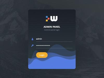 Login Screen for Admin Panel panel dark waves clean admin ux ui form signup register login