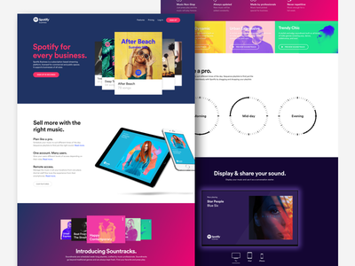 Spotify Business Landing page display cover button meny music hero soundtrack soundtrack your brand landing page business spotify