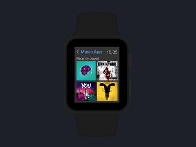 Music app screen for Apple watch