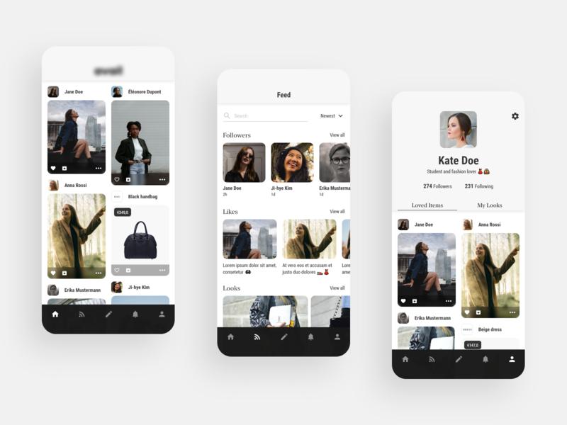 Fashion designers app white uxdesign ux uidesign ui photo mockup mobile minimal fashion app black app