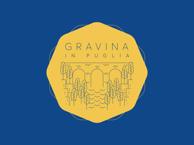 Gravina in Puglia Sticker blue yellow flat illustration art line art landscape dribbbleweeklywarmup bridge canyon italy gravina logo sticker challange illustrator