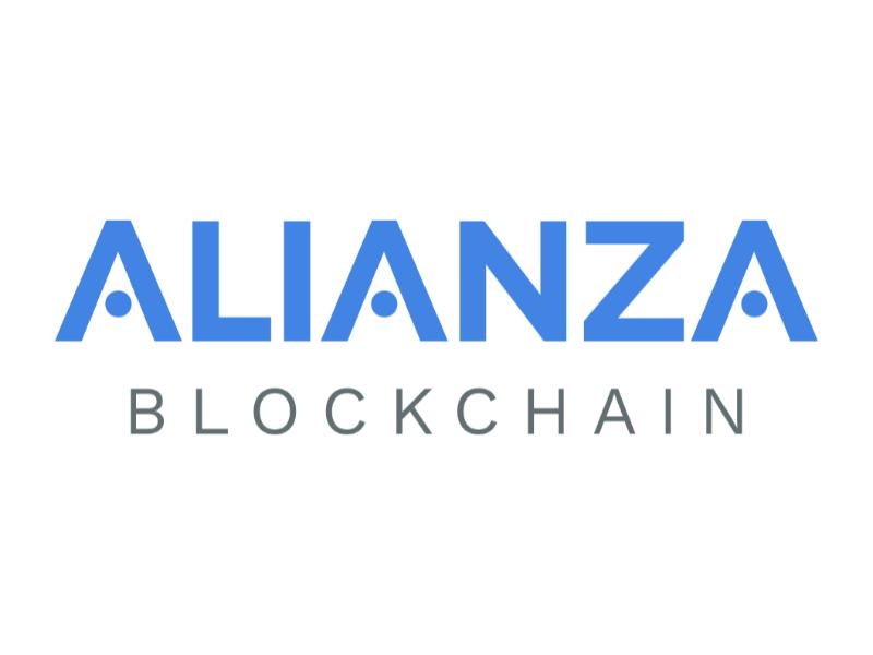 Alianza Blockchain Logo bitcoin plain logotype type gray grey blue blockchain logo