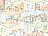 Room illustrations for Invia