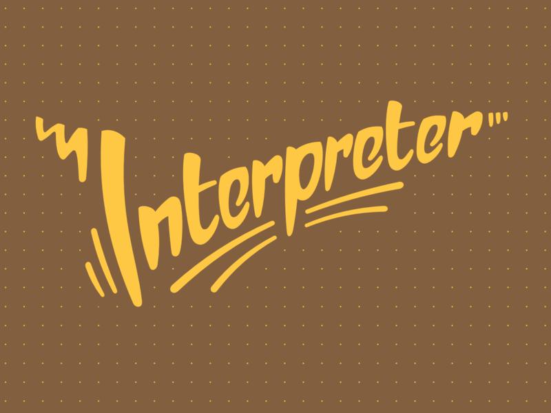 Interpreter Notebook Cover interpreter yellow brown dots letter typography branding design sign illustration