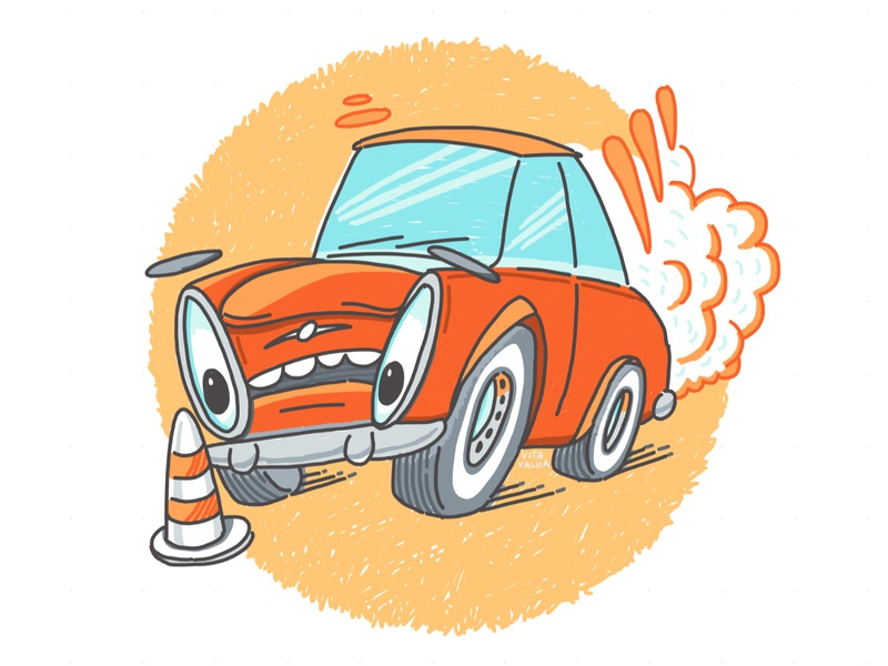 Hold Your Horses cartoon art cartoon sketch drawing orange blue holding breaking smoke eyes car school design illustration