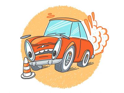Hold Your Horses cartoon art cartoon sketch drawing orange blue holding breaking smoke eyes car school design illustration