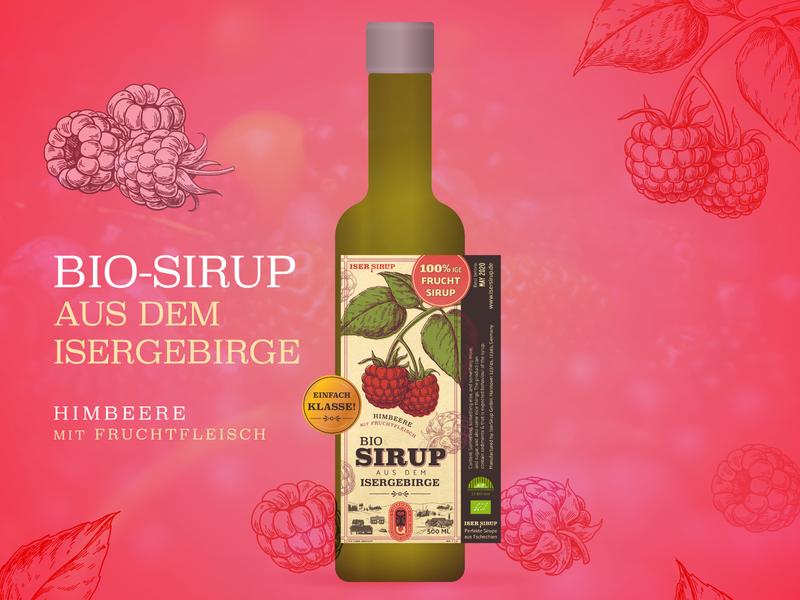 Sirup Label - Himbeere drawing illustration red branding typography design bio bottle drink sirup raspberry himbeere labeldesign label