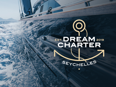 Dream Charter Logotype design symbol ocean sea sand blue linear anchor holiday cruise seychelles charter dream logotype logo sailing catamaran yacht
