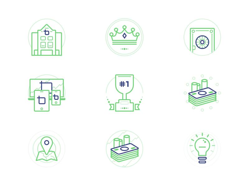 BrokerTrust Icons circular blue duotone icons green icon branding vector illustration symbol cid ui