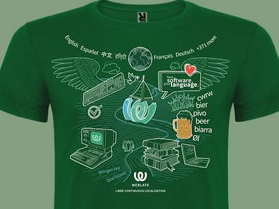 T-shirt Weblate vector doodle branding clothing tshirt t-shirt symbols sketch linear green drawing illustration