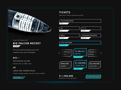 Ticket to Mars landing page app concept bfr elonmusk cool trust ticketing rocket mars dark mode ui design futuristic ui sci-fi