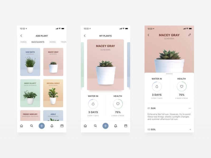 Plantly - Plant Watering App type flat design ux icon typography app ui