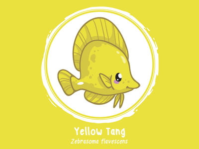 Huevember 01 // Yellow Tang illustration byte size treasure saltwater fish reef fish yellow tang art challenge huevember