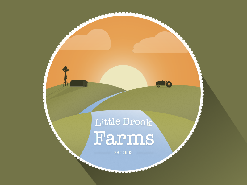 Illustration One hills river tractor sunset badge farm farming farms icon
