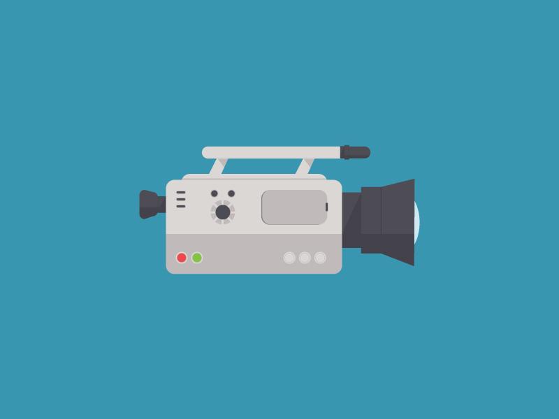 Videocam camera videocam video illustration beige grey flat