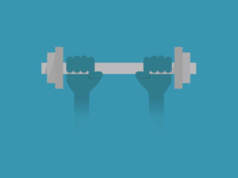 Fitness flat grey blue illustration hands lifting fitness dumbbell