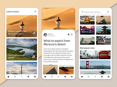 Travel blogging app with Indigo.Design angular material design travel sketch ux ui indigo.design