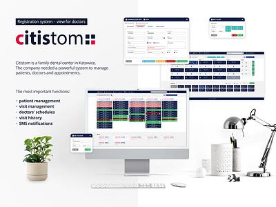 citistom - registration system: view for doctors system webdesign management medicine stomatology schedule health app design app design ui ux ui ux