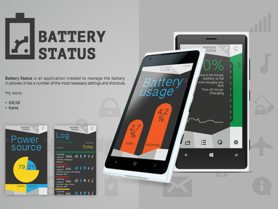 Battery Status smartphone mobile app mobile icons design app ui ux ux ui app battery windows app windows
